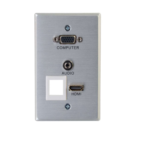 C2G-60169 | RapidRun VGA + 3.5mm With HDMI Pass Through And One Keystone Single Gang Wall Plate
