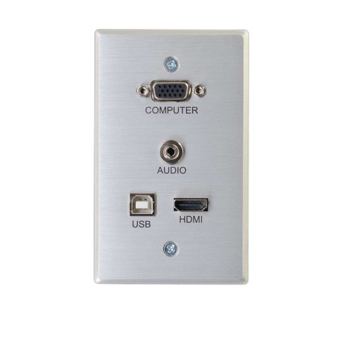 C2G-60171 | RapidRun VGA + 3.5mm + HDMI and USB Pass Through Single Gang Wall Plate