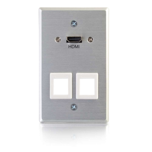 C2G-60160 | HDMI Pass Through Single Gang Wall Plate with Two Keystones - Aluminum