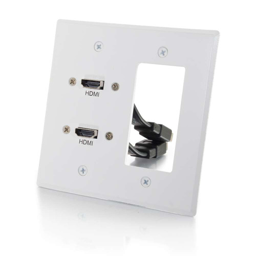 C2G-39708 | Dual HDMI Pass Through Double Gang Wall Plate with One Decorative Cutout - White