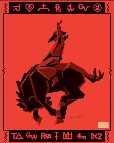 Pendleton Jack Knife Red Bronco Cowboy blanket by Ed Mell