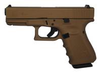 GLK Gen4 Glock 19 9mm 4 Inch Barrel Hot Cerakote Burnt Bronze Surface Finish Fixed Sights Made in the USA 15 Round