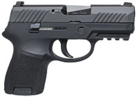SIG P320 Sub Compact Striker 9mm 3.6 Inch Barrel Contrast Sights Black Nitron Slide Finish Accessory Rail 12 Round