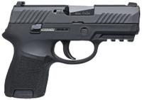 SIG P320 Sub Compact Striker 9mm 3.6 Inch Barrel Contrast Sights Black Nitron Slide Finish Accessory Rail 12 Round