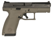 CZ 91521 P10 Single/Double 9mm 4 12+1 Flat Dark Earth Interchangeable Backstrap Grip Black Nitride