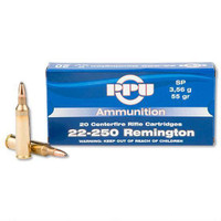 PPU PP24 Standard Rifle 22-250 Remington 55 GR Soft Point 20 rounds
