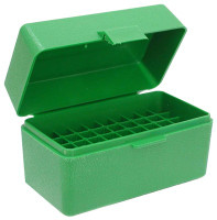 MTM AMMO BOX .22/6MM PPC & BR 50-ROUNDS FLIP TOP STYLE GREEN