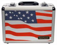 SPORTLOCK ALUMALOCK CASE DOUBLE HANDGUN USA FLAG SCENE