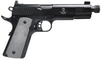 AAC 1911 - Enhanced .45 ACP 5 Inch Threaded Barrel AAC Engraving Custom VZ Grips with AAC Logo Black Finish 8 Round