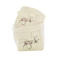 Set of 2 Canvas Sacks with Reindeer Print