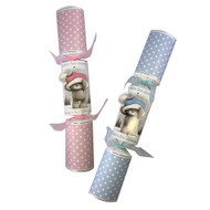 Baby's First  Christmas  Cracker with Stuffed Toy Pink &  Blue Colourway