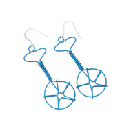 Wired Unicycle Earrings - Electric Blue