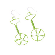 Wired Unicycle Earrings - Neon Green