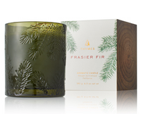 Thymes Frasier Fir Poured Candle Molded Green Glass