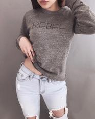 Signature Unisex 'REBEL' Grey Crew Neck Sweatshirt