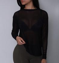 Black Sheer Mesh Long Sleeve Top