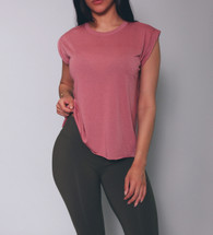 Mauve Flowy Muscle Tee w/ Rolled Cuff