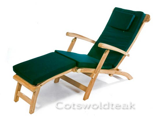 wooden steamer chair with cushion special offer from cotswold teak uk