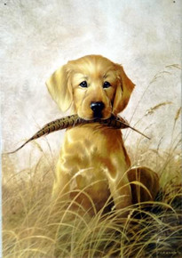 Photo of FEATHER N' FUR, CUTE GOLDEN LAB WITH FEATHER IN IT'S MOUTH SIGN