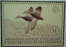 Photo of  FEDERAL DUCK HUNTING STAMP 1941 BROWN AND WHITE
