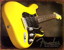Photo of FENDER MAKES HISTORY SHOWS A YELLOW FENDER GUITAR WITH RICH COLOR AND GREAT DETAILS