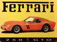 CLASSIC FERRARI 250 GTO ENAMEL SIGN HAS BRILLIANT COLOR AND SHARP DETAILS