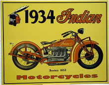 Photo of 1934 INDIAN MOTORCYCLE SIGN, WITH A 402 SERIES BIKE THAT STILL LOOKS INSPIRING TODAY