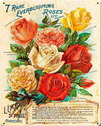 "HEAVY METAL SIGN, VINTAGE LOOK 7 RARE ROSES MEASURES 12"" X 15"" WITH HOLES FOR EASY MOUNTING."