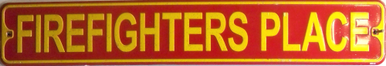 Photo of FIREFIGHTERS PLACE SMALL EMBOSSED STREET SIGN