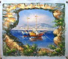 Photo of FISHING BOAT AT ANCHOR THRU WALL medium SIZED OIL PAINTING