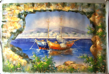 Photo of FISHING BOAT AT ANCHOR THRU WALL medium large SIZED OIL PAINTING