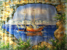 Photo of FISHING BOAT AT ANCHOR THRU WALL large SIZED OIL PAINTING
