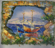 Photo of FISHING BOAT AT ANCHOR THRU WALL small SIZED OIL PAINTING