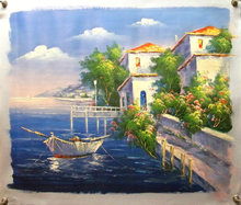 Photo of FISHING BOATS BY FLOWERING GARDENS medium large SIZED OIL PAINTING