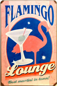 """Photo of FLAMINGO LOUNGE SIGN ON HEAVY DUTY METAL """"BEST MARTINI IN TOWN""""   HAS A MARTINI GLASS AND PINK FLAMINGO"""