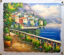 Photo of FLOWERS BY RAILING OVERLOOKING SEA SIZED OIL PAINTING