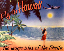 Photo of FLY TO HAWAII THE MAGIC ISLES OF THE PACIFIC, SHOWS HAWIIAN GILR ON BEACH WAVING TO AIRLINER RICH TROPICAL COLORS WARM DETAILS