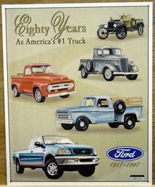 Photo of FORD - 80 YRS  OF PICKUPS COLLAGE, SHOWS FIVE PICK-UPS FROM A VERY EARLY ONE TO MODERN TIMES, GREAT DETAIL AND COLORS