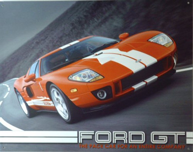 Photo of FORD GT PACE CAR SHOWN ON CURVY ROAD, HUGGING THE ROAD..SHARP DETAIL RICH COLORS