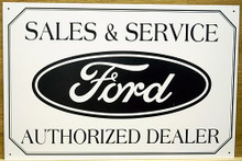 Photo of FORD LOGO (SALES & SERVICE) RECTANGULAR SIGN HAS SHARP DETAILS WITH FORD BLUE AND WHITE COLORS