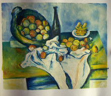 FRUITS AND WINE BOTTLE ON TABLE OIL PAINTING