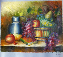 FRUITS IN BASKET WITH PITCHER SMALLEST OIL PAINTING