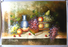 FRUITS IN BASKET W/PITCHER MEDIUM LARGE OIL PAINTING
