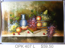 FRUITS IN BASKET W/PITCHER OIL PAINTING