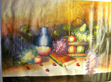 FRUITS IN BASKET W/PITCHER AND BOOK OIL PAINTING