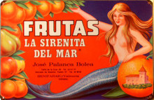"FRUTAS MERMAID  (sublimation process) SPANICH LANGUAGE SIGN""FRUTAS LA SIRENITA DEL MAR""  HAS RICH COLORS AND WARM GRAPHICS"