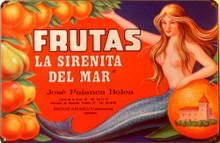 """FRUTAS MERMAID  (sublimation process) SPANICH LANGUAGE SIGN""""FRUTAS LA SIRENITA DEL MAR""""  HAS RICH COLORS AND WARM GRAPHICS"""