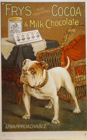 """FRY'S COCOA SIGN WITH THEIR BULLDOG GUARDING THE COCOA """"UNAPPROACHABLE""""  RICH WARM COLORS GREAT GRAPHICS"""