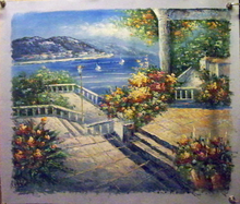 GARDENS, STEPS AND RAIL BY THE SEA OIL PAINTING