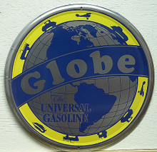 GLOBE GAS SIGN HAS A GLOBE WITH VEHICLE AROUND IT THE WORD GLOBE ACROSS THE SIGN